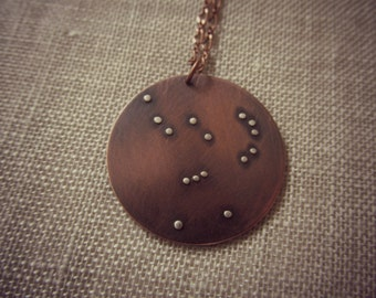 Orion, The Hunter Constellation Pendant - Copper and Sterling Silver Necklace