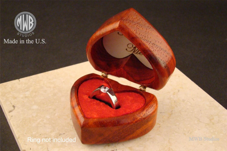 Heart shaped ring box of solid padauk free engraving and for Heart ring box