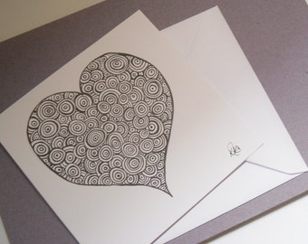 Doodle Art Heart Card,  Abstract Card, Hand Drawn Card, Greetings Card,  Note Card