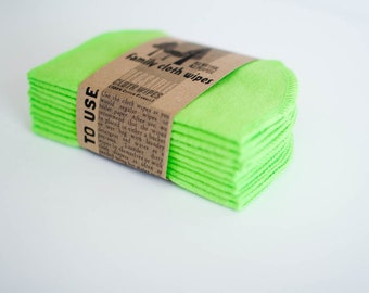 Baby Cloth Wipes - Reusable Baby Cloth Diaper Wipes - Set of 15  Wipes - Solid Lime Green Double Layer