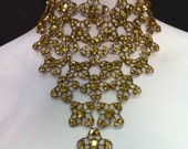 Diamond Cluster choker made with Lime Green Swarovski Crystals plated in 24k Gold