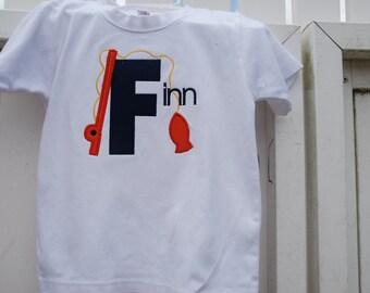 Boy fishing monogram/applique shirt