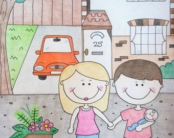 Custom Family Portrait Illustration COMMISSION your own Personalised Cartoon Family PORTRAIT Welcome to our Home Sign