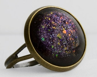 Witches Brew Ring in Antique Bronze - Purple and Blue Glitter with Orange Holographic Flecks Halloween Cocktail Ring