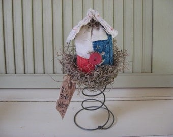 Bird House Old Quilt in Old Bed Spring Grungy Tag Red White Blue with Red Button Shelf Sitters