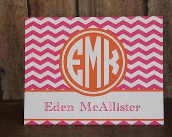 Notecards, Set of 14 Notecards, 38 Colors-Monogrammed Notecards with Envelopes, Pink and Orange Notecards, Custom Notecards
