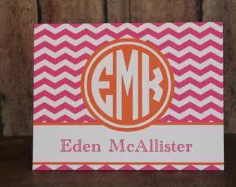 Set of 10 Notecards, 24 Colors-Monogrammed Notecards with Envelopes, Pink and Orange Notecards, Custom Notecards