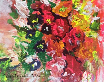 Art Floral Painting - Original Abstract Floral Painting by Lana Moes Titled: Secret Garden