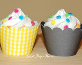 24 Cupcake Wrappers - Yellow Gingham and Gray (Scallop, Wraps, Wrapper, Yellow and Grey, Yellow and Gray, Baby Shower, Wedding, Birthday)