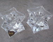 Avon Lead Crystal Star Cube Taper Candle Holders  24% Lead  Made in USA