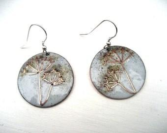 Enamelled Cow Parsley earrings - handmade in Wales