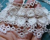 1800s Antique Irish Lace and Hand Tatted Lace Trim Lot Vintage Tatting Fab Victorian 3D Clones Doll