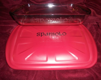 "Personalized etched 9""x13"" baking dish & red lid with name and flourish on side OR bottom"