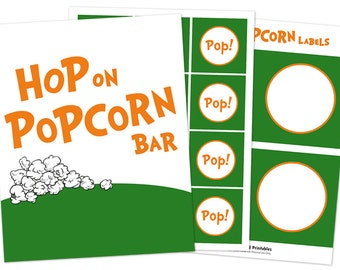INSTANT Hop on Popcorn Bar Printables - Dr. Seuss Inspired Teacher Appreciation and Birthday Printables