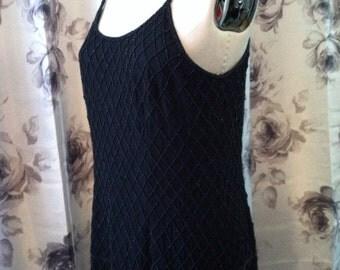 Flapper inspired black beaded prom dress  medium