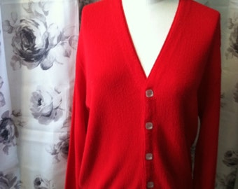 Men's red cardigan sweater