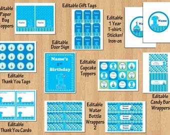 boy birthday party 1st birthday party package Boy 1st birthday Sweet Cupcake Blue Green boy birthday invitation printable WORD PDF File DIY