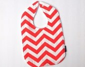 Chevron baby bib coral cotton white minky snap