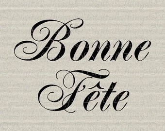 French Script Happy Birthday Typography French Wall Decor Art Printable Digital Download for Iron on Transfer Fabric Pillows Tea Towel DT124