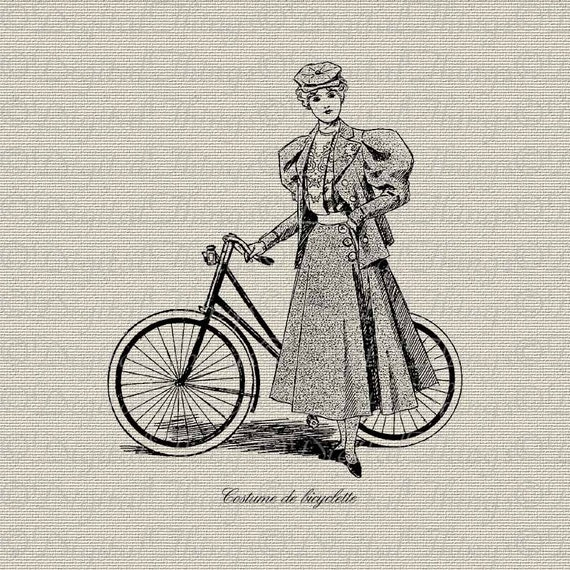 French Fashion Couture Bicycle French Script Printable Digital Download for Iron on Transfer Fabric Pillows Tea Towels DT741