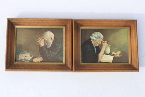 Vintage quot grace quot and gratitude prints old man praying meal time old