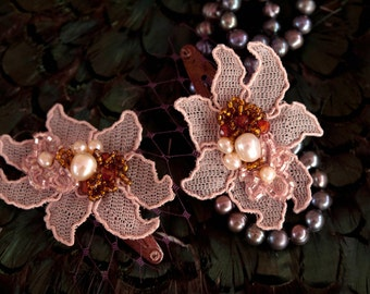 Prom accessories, Prom hair, Beaded hair clip, party hair accessories, vintage style  hair clip -Simona