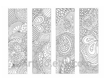 Printable Bookmarks Coloring Page, Zendoodle / Zentangle Inspired Printable Instant Download, Sheet 18