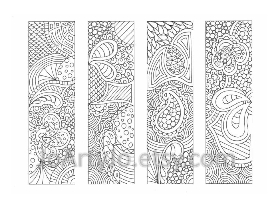 PDF Coloring Page Bookmarks Zendoodle Zentangle Inspired