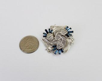 Vintage Signed Crown Trifari  Blue  Rhinestone  Thistle Brooch