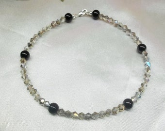 Black Onyx Anklet Silver Crystal Ankle Bracelet Gray Anklet 925 Sterling Silver Anklet Made in USA Handcrafted Jewelry BuyAny3+Get1Free