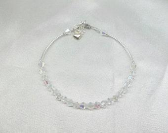 Clear AB Crystal Bracelet Silver Heart Bracelet 925 Sterling Silver Adjustable Bracelet BuyAny3+1Free