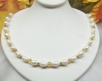 14kt Gold Pearl Necklace White Pearl Necklace 14kt Gold Crystal Necklace With Swarovski Elements Solid 14k Gold Necklace BuyAny3+1 Free