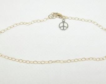 Peace Sign Ankle Bracelet 14k Gold Chain Anklet Gold Chain Ankle Bracelet Peace Sign Anklet 14k Gold Filled Anklet or Bracelet BuyAny3+1Free
