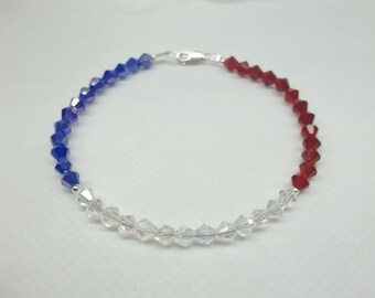 Patriotic Bracelet Red White Blue Bracelet Crystal Bracelet Patriotic Jewelry USA Colors 925 Sterling Silver BuyAny3+Get1 Free
