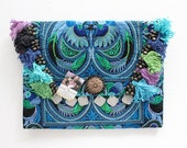 Colorful Hair Clutch Embroidered Decoration Blue Bird Fabric Thailand (BG306WH-BB)