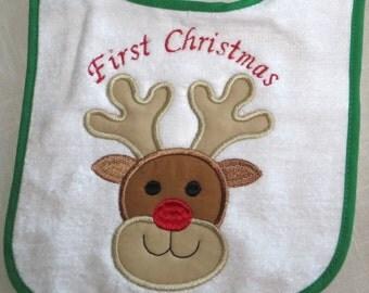 First Christmas,  Appliqued, Rabbit  Skin Snap Bib