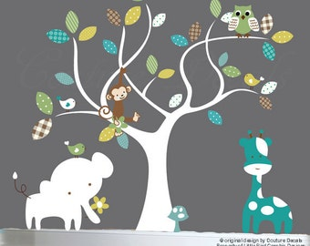 Nursery jungle decal set, tree wall decal, jungle animal wall decals, patterned wall decals - 0223