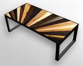 Stained Sunburst - Reclaimed Wood Coffee Table or Desk - Modern Wood Art