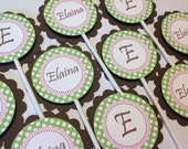 Sip and See Baby Shower Cupcake Toppers Pink Green and Brown Polka Dot Set of 12