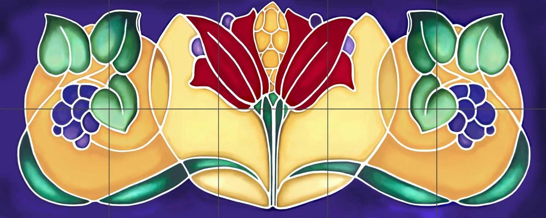 Art deco grapes decorative ceramic tile mural zoom dailygadgetfo Images