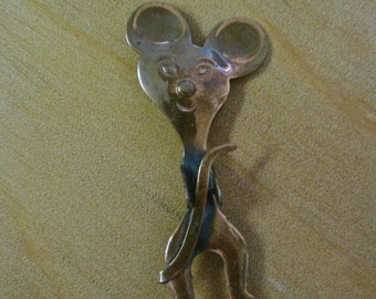 Copper MOUSE BROOCH Modernist Handmade Artisan Handcrafted Figural Atomic Rockabilly Pin Mid Century 50s