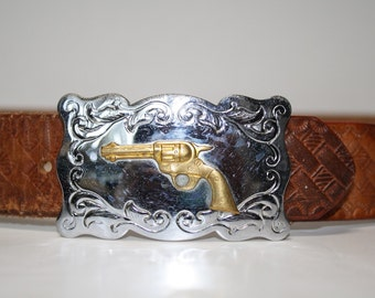 Vintage Silver and Brass Gun Buckle Leather Belt Size 32 33 34 35 36 37 38