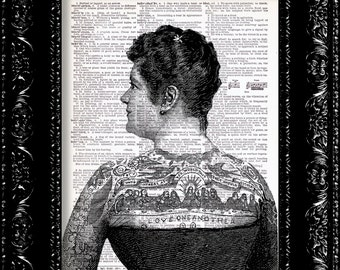 Tattoo Woman - Vintage Dictionary Print Vintage Book Print Page Art Upcycled Vintage Book Art