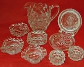 Vintage FOSTORIA AMERICAN GLASS - 9 Pieces ~ 4 Individual Ashtrays~Crystal~Bridge, 9 1/2 oz Creamer, 2 salt dips, 2 coasters -