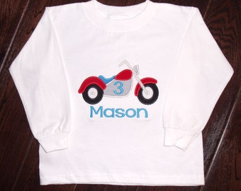 Motorcycle birthday shirt, Boys Motorcycle shirt, Personalized Birthday Motorcycle Shirt, Embroidered Motorcycle Shirt, Birthday Bike Shirt