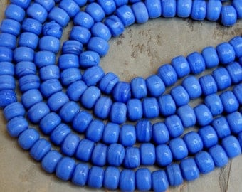 9mm Opaque Blue Glass Crow Beads,  25 Inch Full Strand (OBIND1C15)