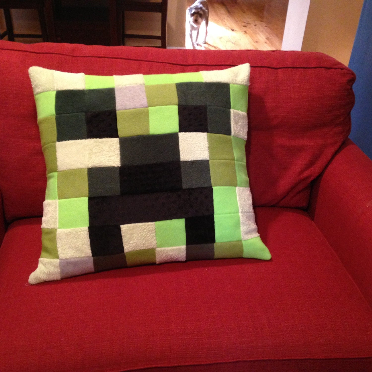 minecraft creeper euro size pillow cover just the cover. Black Bedroom Furniture Sets. Home Design Ideas
