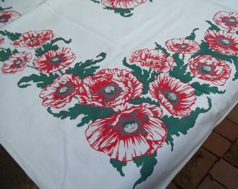 Vintage Print Tablecloth  Large Red Poppies, Flowers, Floral by Harmony House , 47 by 50