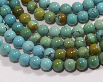 """Turquoise 7.3mm 8"""" Strand Natural Gemstone Beads Jewelry Making Supplies Turquoise Beads"""