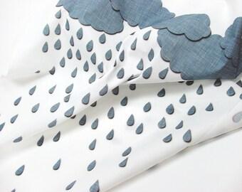 Rainy day clouds fabric fat quarter white gray rain drops